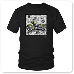 Vintage Motorcycles on Route 66 Green - T-Shirt
