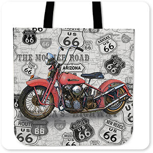 Vintage Motorcycles on Route 66 Rust Red - Tote Bag