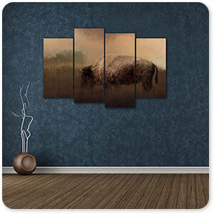 Wild Animals Collection Bison Grazing At Sunrise - Multi-piece Canvas Art - 3 Designs - EXPRESS DELIVERY!