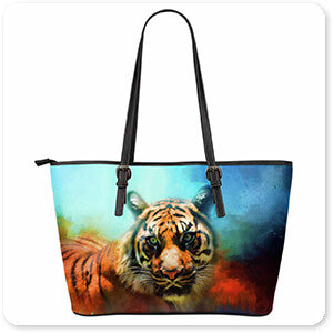 Wild Animals Collection Colorful Expressions Tiger 2 - Large Leather Tote Bag - EXPRESS DELIVERY!