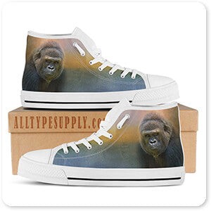 Wild Animals Collection Portrait Of A Gorilla - Women's High Top White Trim Canvas Shoes - EXPRESS DELIVERY!