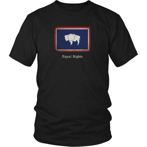 Wyoming State Flag with Motto - Black T-Shirt