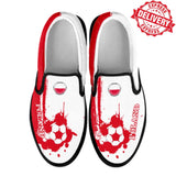 Poland National Flag [Soccer Paint Brush] - Kid's Canvas Slip-On Shoes - EXPRESS DELIVERY!