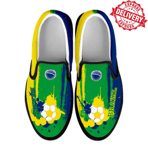 Brazil National Flag [Soccer Paint Brush] - Canvas Slip-On Shoes - EXPRESS DELIVERY!
