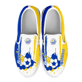 Uruguay National Flag [Soccer Paint Brush] - Canvas Slip-On Shoes