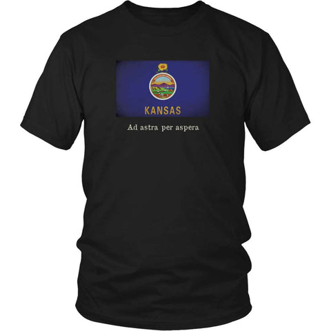 Kansas State Flag with Motto - Black T-Shirt