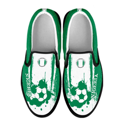 Nigeria National Flag [Soccer Paint Brush] - Kid's Canvas Slip-On Shoes