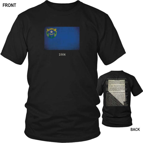 Nevada State Flag and Constitution - Black T-Shirt