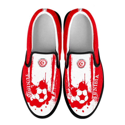 Tunisia National Flag [Soccer Paint Brush] - Canvas Slip-On Shoes