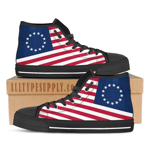 Original Thirteen Colonies with Betsy Ross Flag - High & Low Top Canvas Shoes