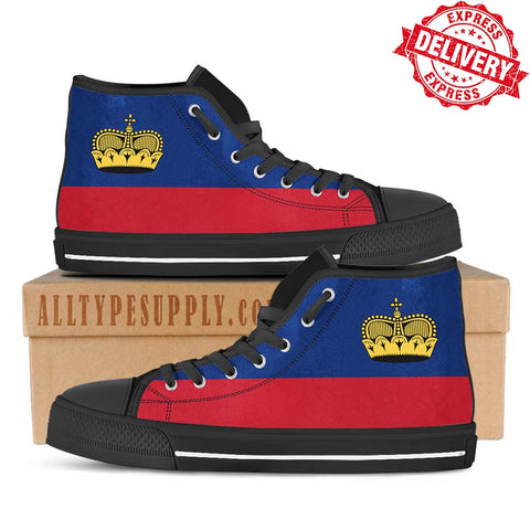 Liechtenstein National Flag - High & Low Top Canvas Shoes - EXPRESS DELIVERY!