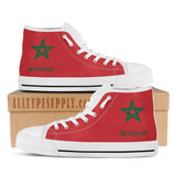 Morocco National Flag - Women's High & Low Top Canvas Shoes - White Trim