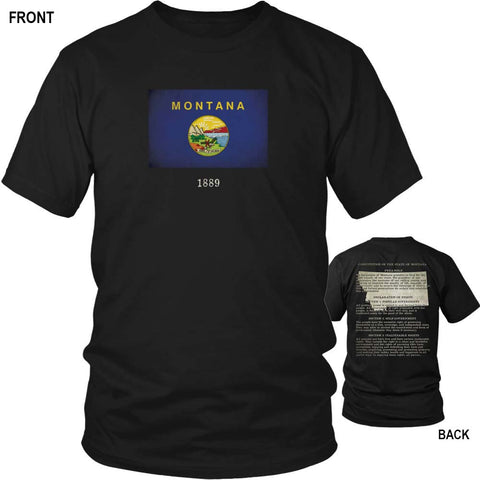 Montana State Flag and Constitution - Black T-Shirt
