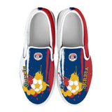 Serbia National Flag [Soccer Paint Brush] - Kid's Canvas Slip-On Shoes