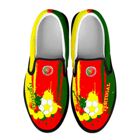 Portugal National Flag [Soccer Paint Brush] - Canvas Slip-On Shoes
