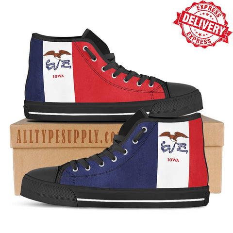 Iowa State Flag - High & Low Top Canvas Shoes - EXPRESS DELIVERY!