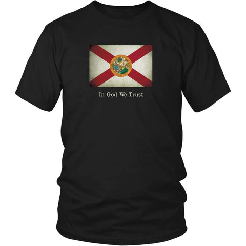 Florida State Flag with Motto - Black T-Shirt