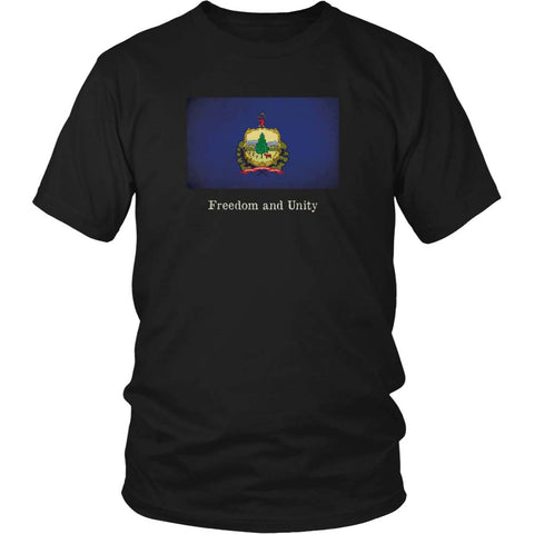 Vermont State Flag with Motto - Black T-Shirt
