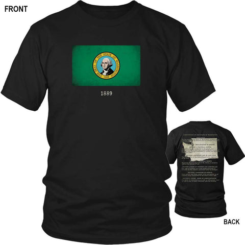 Washington State Flag and Constitution - Black T-Shirt