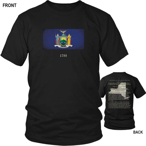 New York State Flag and Constitution - Black T-Shirt