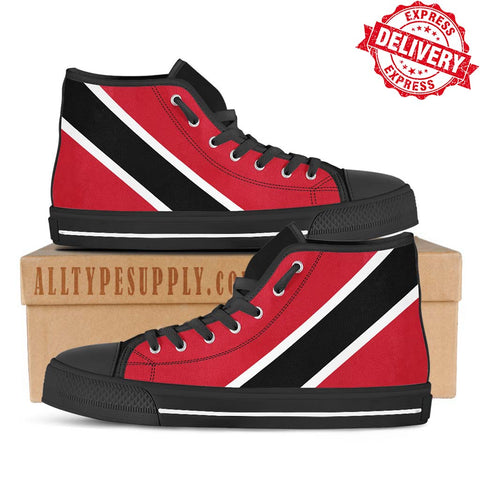 Trinidad National Flag - High & Low Top Canvas Shoes - EXPRESS DELIVERY!