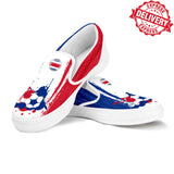 Costa Rica National Flag [Soccer Paint Brush] - Canvas Slip-On Shoes - EXPRESS DELIVERY!