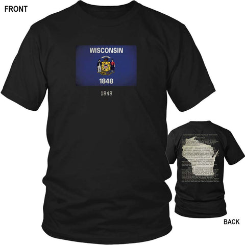 Wisconsin State Flag and Constitution - Black T-Shirt