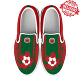 Morocco National Flag [Soccer Paint Brush] - Kid's Canvas Slip-On Shoes - EXPRESS DELIVERY!