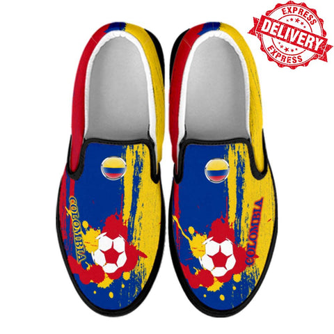 Colombia National Flag [Soccer Paint Brush] - Canvas Slip-On Shoes - EXPRESS DELIVERY!
