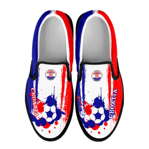 Croatia National Flag [Soccer Paint Brush] - Canvas Slip-On Shoes