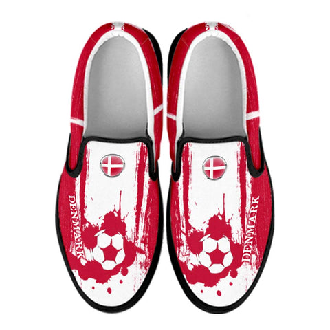 Denmark National Flag [Soccer Paint Brush] - Canvas Slip-On Shoes