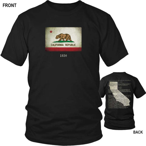 California State Flag and Constitution - Black T-Shirt