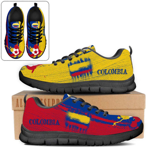 Colombia National Flag [Soccer Paint Brush] - Kid's Running Sneakers