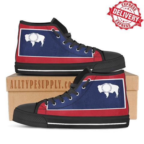 Wyoming State Flag - High & Low Top Canvas Shoes - EXPRESS DELIVERY!