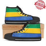 Gabon National Flag - High & Low Top Canvas Shoes - EXPRESS DELIVERY!