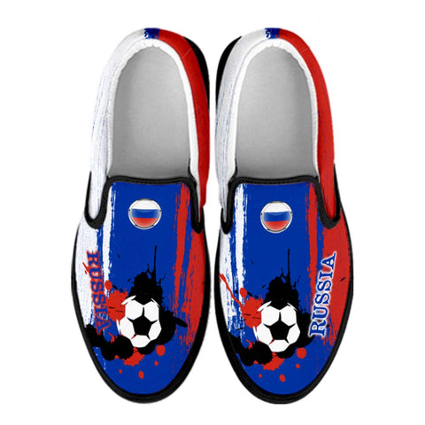 Russia National Flag [Soccer Paint Brush] - Canvas Slip-On Shoes