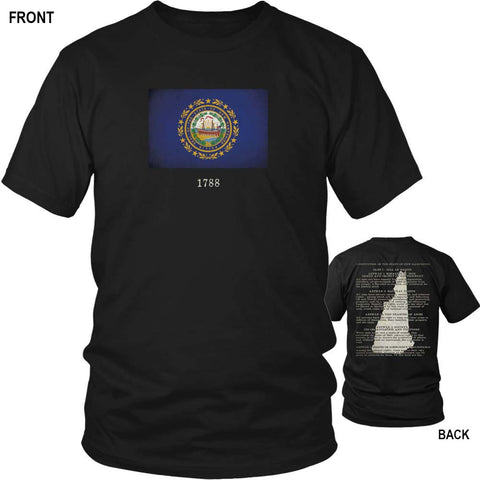 New Hampshire State Flag and Constitution - Black T-Shirt