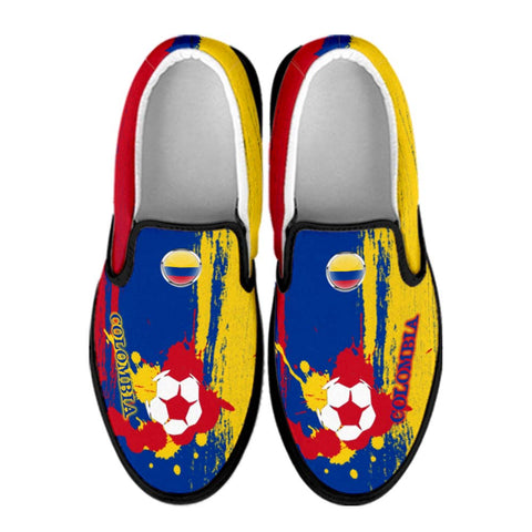 Colombia National Flag [Soccer Paint Brush] - Canvas Slip-On Shoes