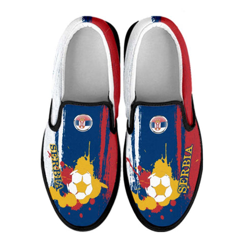Serbia National Flag [Soccer Paint Brush] - Canvas Slip-On Shoes