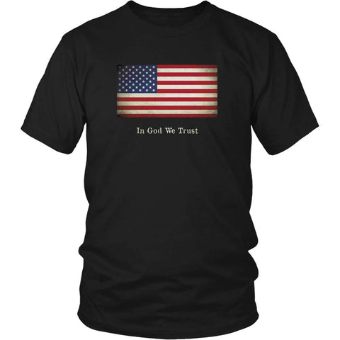 United States Flag with Motto - Black T-Shirt