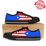 Puerto Rico Flag - High & Low Top Canvas Shoes - EXPRESS DELIVERY!