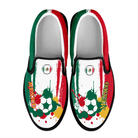 Mexico National Flag [Soccer Paint Brush] - Canvas Slip-On Shoes