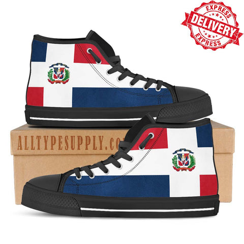 Dominican Republic National Flag - High & Low Top Canvas Shoes - EXPRESS DELIVERY!