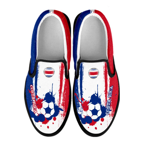 Costa Rica National Flag [Soccer Paint Brush] - Canvas Slip-On Shoes