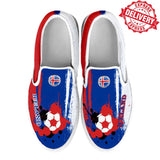 Iceland National Flag [Soccer Paint Brush] - Kid's Canvas Slip-On Shoes - EXPRESS DELIVERY!