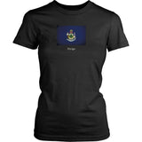 Maine State Flag with Motto - Black T-Shirt