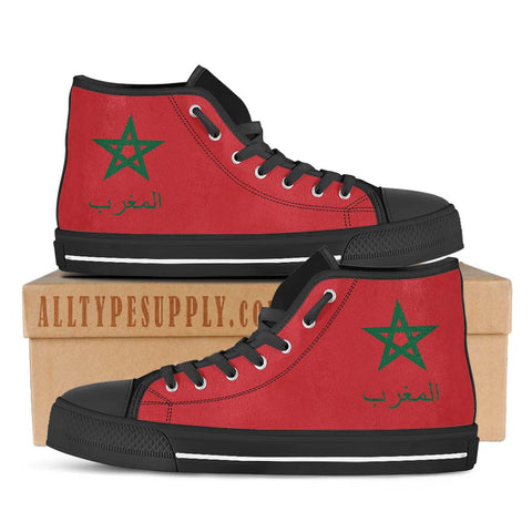 Morocco National Flag - Women's High & Low Top Canvas Shoes - Black Trim