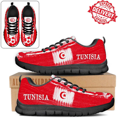 Tunisia National Flag [Soccer Paint Brush] - Kid's Running Sneakers - EXPRESS DELIVERY!