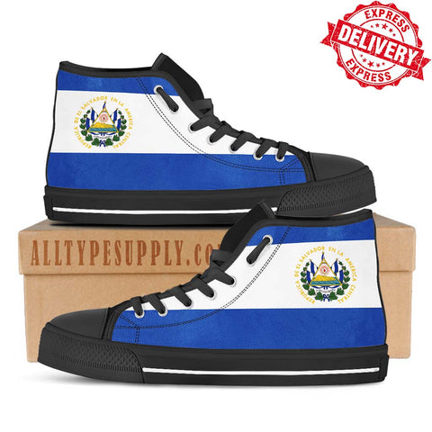 El Salvador National Flag - High & Low Top Canvas Shoes - EXPRESS DELIVERY!