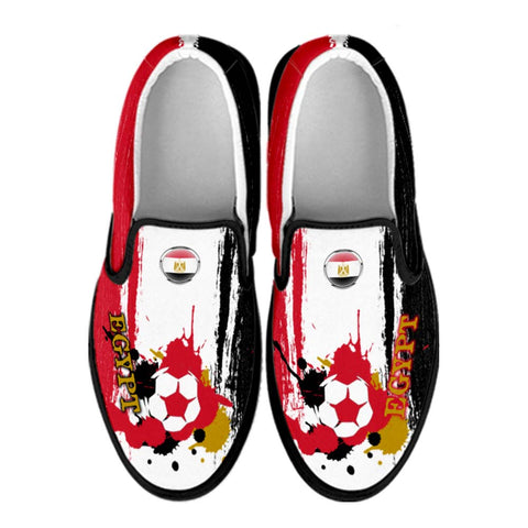 Egypt National Flag [Soccer Paint Brush] - Canvas Slip-On Shoes